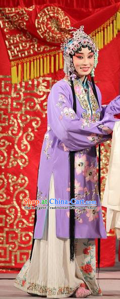 Chinese Beijing Opera Hua Tan Liu Yuyan Apparels Costumes and Headdress Tao Hua Cun Traditional Peking Opera Actress Diva Purple Dress Garment