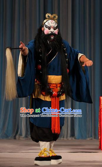 Tao Hua Cun Chinese Peking Opera Hero Garment Costumes and Headwear Beijing Opera Martial Male Apparels Monk Lu Zhishen Clothing