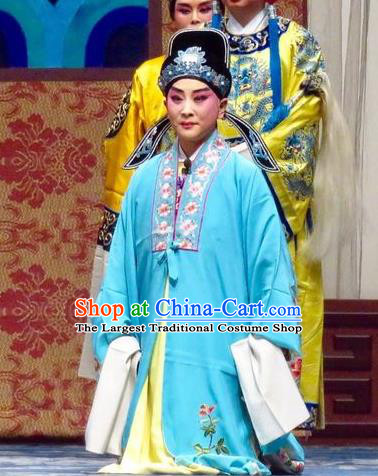 San Kan Yu Mei Chinese Ping Opera Niche Blue Costumes and Headwear Pingju Opera Young Male Apparels Scholar Feng Jiajin Clothing