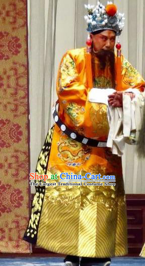 San Kan Yu Mei Chinese Ping Opera Emperor Golden Costumes and Headwear Pingju Opera Elderly Male Apparels Laosheng Clothing