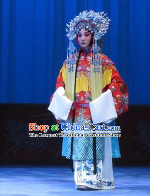Chinese Ping Opera Hua Tan Apparels Costumes and Headdress Traditional Pingju Opera Zhou Ren Xian Sao Actress Red Dress Diva Garment