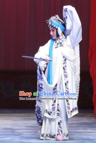 Chinese Ping Opera Diva White Apparels Costumes and Headdress Traditional Pingju Opera Zhou Ren Xian Sao Actress Distress Maiden Dress Garment