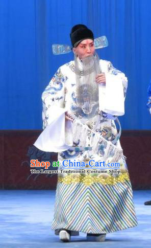 Zhou Ren Xian Sao Chinese Ping Opera Laosheng Costumes and Headwear Pingju Opera Apparels Clothing Official White Embroidered Robe