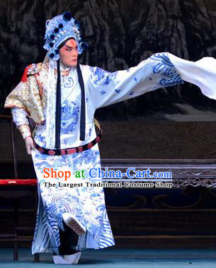 Di Qing Chinese Peking Opera General Garment Costumes and Headwear Beijing Opera Military Officer Apparels Young Male Takefu Clothing