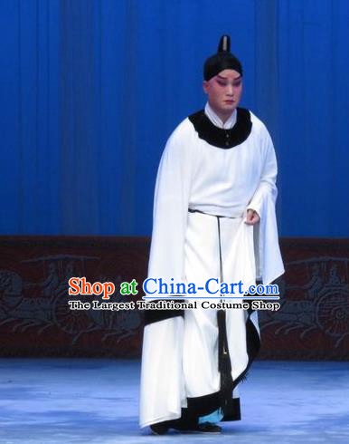 Zhou Ren Xian Sao Chinese Ping Opera Xiaosheng Costumes and Headwear Pingju Opera Young Male Zhou Ren White Apparels Clothing