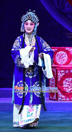 Chinese Beijing Opera Actress Zhang Yuzhen Apparels Costumes and Headdress Love of Jade Hairpin Traditional Peking Opera Young Mistress Blue Dress Garment