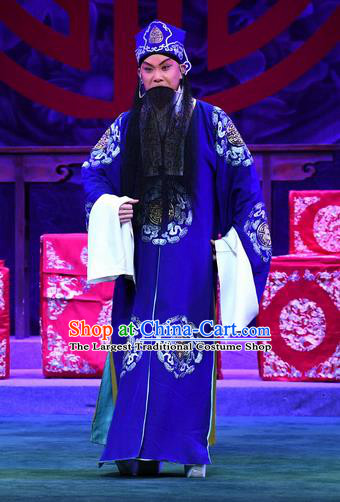 Love of Jade Hairpin Chinese Peking Opera Landlord Garment Costumes and Headwear Beijing Opera Elderly Male Apparels Laosheng Zhao Qixian Clothing
