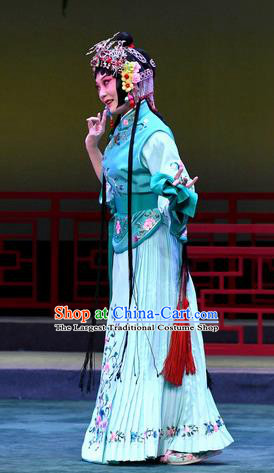 Chinese Beijing Opera Maidservant Apparels Costumes and Headdress Love of Jade Hairpin Traditional Peking Opera Xiaodan Dress Young Lady Xiao Hui Garment