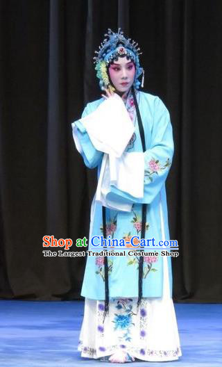 Chinese Ping Opera Hua Tan Apparels Costumes and Headdress Traditional Pingju Opera Zhou Ren Xian Sao Actress Diva Blue Dress Garment