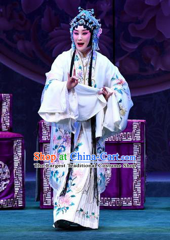 Chinese Beijing Opera Young Female Apparels Actress Zhang Yuzhen Costumes and Headdress Love of Jade Hairpin Traditional Peking Opera Hua Tan Dress Garment