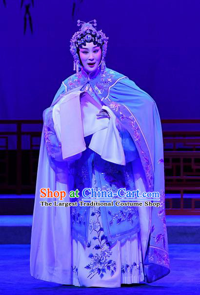 Chinese Beijing Opera Apparels Actress Zhang Yuzhen Costumes and Headdress Love of Jade Hairpin Traditional Peking Opera Hua Tan Dress Young Female Garment