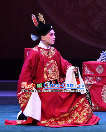 Love of Jade Hairpin Chinese Peking Opera Niche Zhao Qixian Garment Costumes and Headwear Beijing Opera Bridegroom Apparels Scholar Clothing