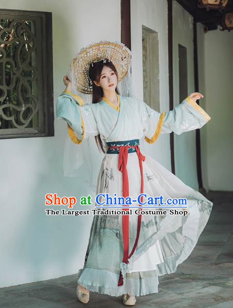 Chinese Ancient Goddess Hanfu Dress Garment Traditional Jin Dynasty Royal Princess Historical Costumes for Women