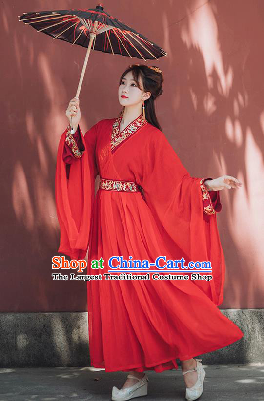 Chinese Ancient Bride Red Hanfu Dress Garment Traditional Jin Dynasty Royal Princess Wedding Historical Costumes Complete Set