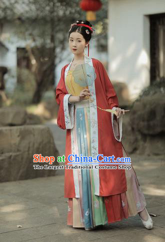 Chinese Traditional Song Dynasty Young Lady Apparels Historical Costumes Ancient Civilian Female Hanfu Dress Garment for Women