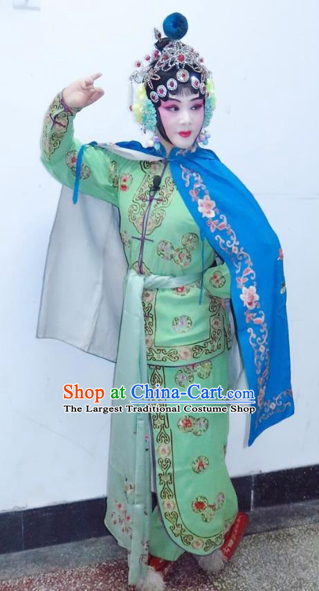 Chinese Ping Opera Wu Dan Green Apparels Costumes and Headpieces Traditional Pingju Opera San Kan Yu Mei Martial Woman Dress Garment