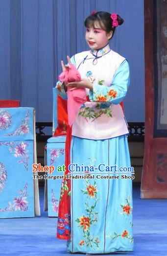 Chinese Ping Opera Servant Girl Apparels Costumes and Headdress Traditional Pingju Opera Tao Li Mei Maidservant Dress Garment