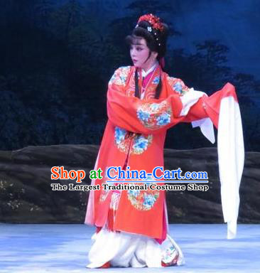 Chinese Ping Opera Bride Li Hua Apparels Costumes and Headpieces Traditional Pingju Opera Pear Blossom Love Diva Red Dress Garment