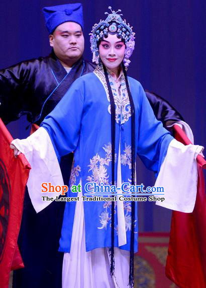 Chinese Ping Opera Hua Tan Apparels Costumes and Headpieces Selling Miaolang Traditional Pingju Opera Diva Liu Huiying Blue Dress Garment