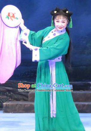Chinese Ping Opera Young Lady Apparels Costumes and Headpieces Traditional Pingju Opera Pear Blossom Love Embroidered Female Green Dress Garment