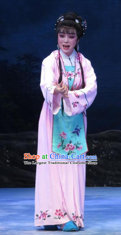 Chinese Ping Opera Embroidered Female Li Hua Apparels Costumes and Headpieces Traditional Pingju Opera Pear Blossom Love Actress Pink Dress Garment