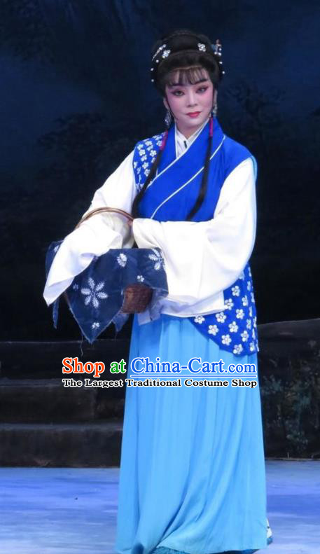 Chinese Ping Opera Young Female Li Hua Apparels Costumes and Headpieces Traditional Pingju Opera Pear Blossom Love Country Lady Blue Dress Garment