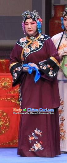 Chinese Ping Opera Laodan Apparels Costumes and Headpieces The Oil Vendor and His Pretty Bride Traditional Pingju Opera Pantaloon Dress Garment