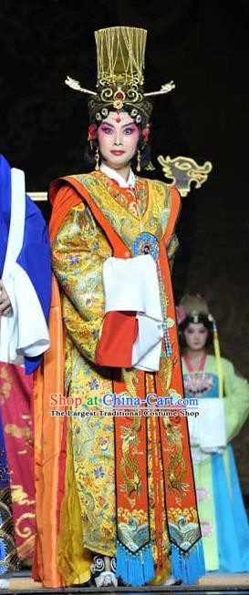 Chinese Beijing Opera Apparels Diva Wuzetian Costumes and Headdress The Purple Robe Story Traditional Peking Opera Empress Dress Queen Garment