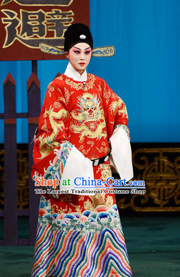 Xie Yaohuan Chinese Peking Opera Official Garment Costumes and Headwear Beijing Opera Young Male Apparels Python Embroidered Robe Clothing