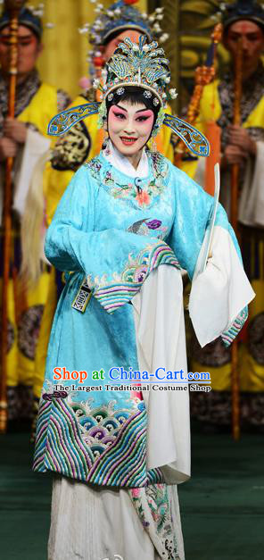 Chinese Beijing Opera Diva Hua Tan Apparels Costumes and Headdress Xie Yaohuan Traditional Peking Opera Actress Dress Female Official Blue Garment