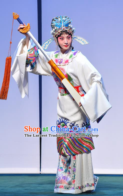 Chinese Beijing Opera Diva Apparels Costumes and Headdress Xie Yaohuan Traditional Peking Opera Female Official White Dress Actress Garment