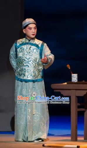 Jin Lv Qu Chinese Peking Opera Xiaosheng Garment Costumes and Headwear Beijing Opera Scholar Apparels Qing Dynasty Young Male Clothing