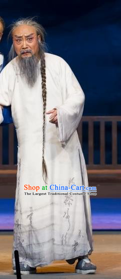 Jin Lv Qu Chinese Peking Opera Elderly Male Garment Costumes and Headwear Beijing Opera Laosheng Apparels Qing Dynasty Scholar Clothing