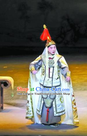 Jin Lv Qu Chinese Peking Opera Young General Garment Costumes and Headwear Beijing Opera Martial Male Apparels Qing Dynasty Narang Xingde Armor Clothing