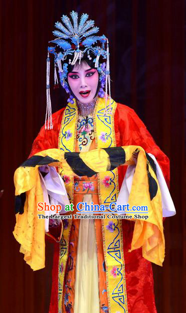 Chinese Ping Opera Noble Consort Liu E Apparels Costumes and Headpieces Traditional Pingju Opera Palm Civet for Prince Court Queen Dress Garment