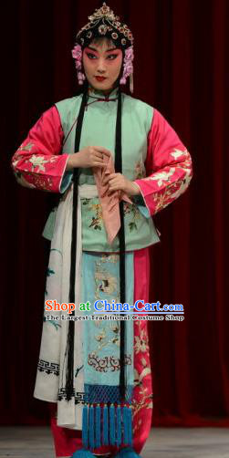 Chinese Ping Opera Xiaodan Apparels Costumes and Headpieces The Oil Vendor and His Pretty Bride Traditional Pingju Opera Maidservant Dress Garment