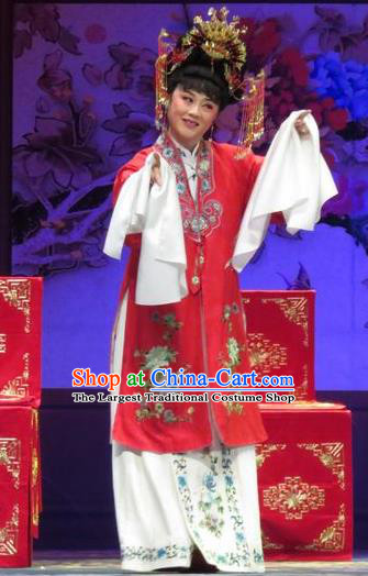 Chinese Ping Opera Actress Zhang Shangzhu Apparels Costumes and Headpieces Tell on Sargam Traditional Pingju Opera Diva Red Dress Garment