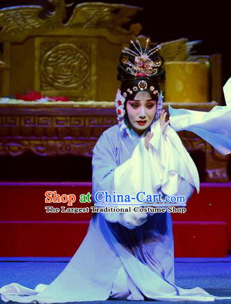 Chinese Ping Opera Distress Maiden Apparels Costumes and Headpieces Da Song Zhong Yi Zhuan Traditional Pingju Opera Noble Consort Li Dress Garment