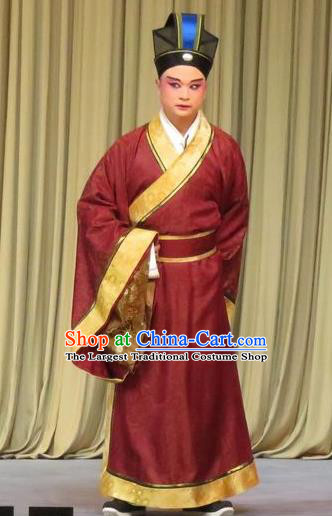 Southeast Fly the Peacocks Chinese Ping Opera Xiaosheng Jiao Zhongqing Garment Costumes and Headwear Pingju Opera Apparels Scholar Minister Clothing