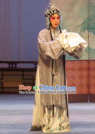 Chinese Ping Opera Distress Female Apparels Costumes and Headpieces Southeast Fly the Peacocks Traditional Pingju Opera Diva Liu Lanzhi Dress Garment