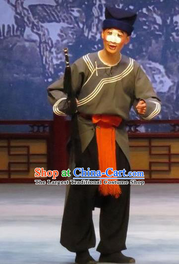 Southeast Fly the Peacocks Chinese Ping Opera Figurant Male Garment Costumes and Headwear Pingju Opera Chou Role Apparels Clothing