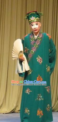 Chinese Ping Opera Southeast Fly the Peacocks Garment Costumes and Headwear Pingju Opera Bully Apparels Rich Childe Green Robe Clothing