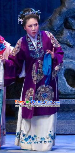 Chinese Ping Opera Elderly Female Apparels Costumes and Headpieces Tell on Sargam Traditional Pingju Opera Dame Purple Dress Garment