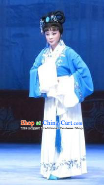 Chinese Ping Opera Distress Maiden Apparels Costumes and Headpieces Tell on Sargam Traditional Pingju Opera Diva Zhang Shangzhu Dress Garment