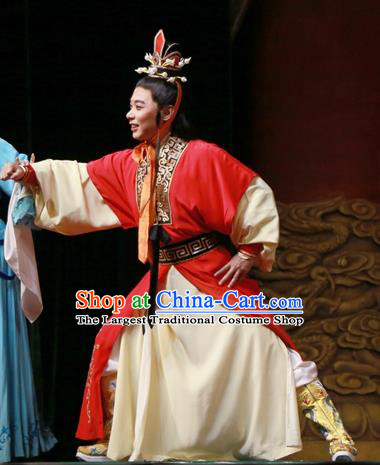 Chinese Ping Opera Young Male Xiaosheng Apparels Palm Civet for Prince Costumes and Headwear Pingju Opera Crown Prince Clothing