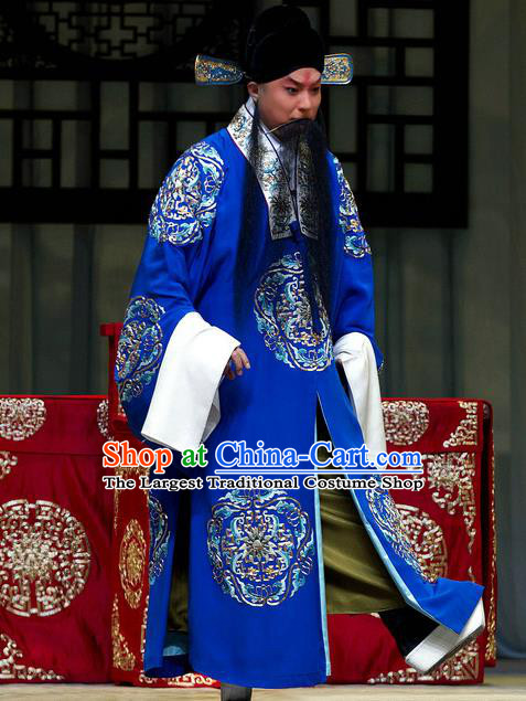 Han Yuniang Chinese Peking Opera Official Cheng Pengjv Embroidered Robe Garment Costumes and Headwear Beijing Opera Laosheng Apparels Clothing