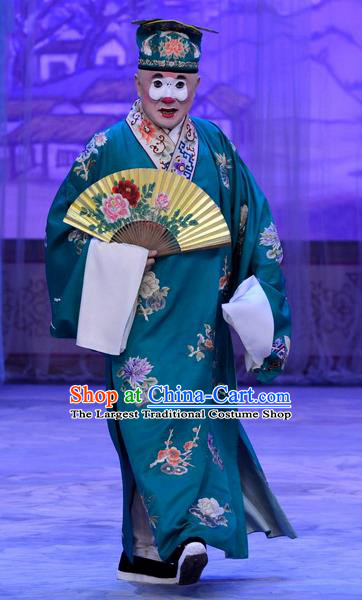 Han Yuniang Chinese Peking Opera Dude Garment Costumes and Headwear Beijing Opera Bully Apparels Clown Hu Wei Green Robe Clothing