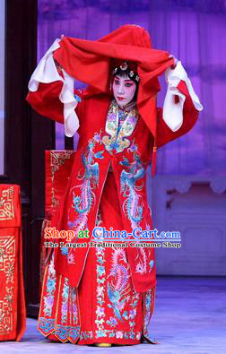 Chinese Beijing Opera Bride Wedding Apparels Costumes and Headdress San Da Tao Sanchun Traditional Peking Opera Hua Tan Red Dress Young Female Garment
