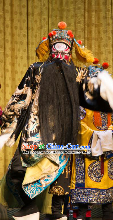 San Da Tao Sanchun Chinese Peking Opera Elderly Male Garment Costumes and Headwear Beijing Opera Laosheng Apparels Emperor Zhao Kuangyin Embroidered Robe Clothing
