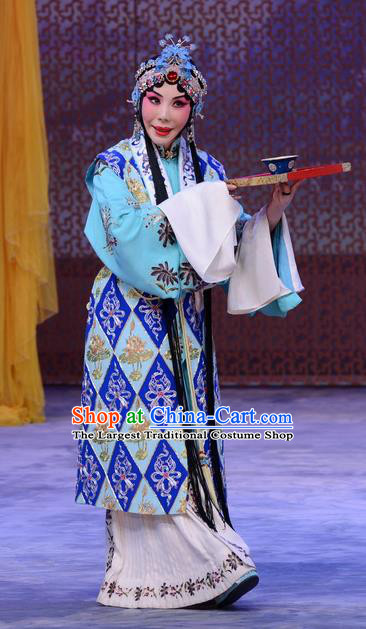 Chinese Beijing Opera Taoist Nun Apparels Costumes and Headdress Han Yuniang Traditional Peking Opera Actress Dress Young Female Garment